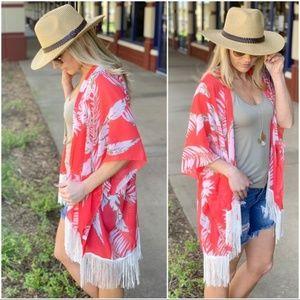 Coral Tropical Print Fringe Kimono